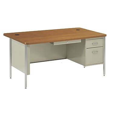 Sandusky® 60in. x 30in. Single Pedestal Steel Teachers Desk, Putty/Medium Oak