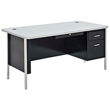 Sandusky® 60in. x 30in. Single Pedestal Steel Teachers Desk, Black/Grey Nebula