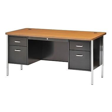 Sandusky® 60in. x 30in. Double Pedestal Steel Teachers Desk, Black/Medium Oak