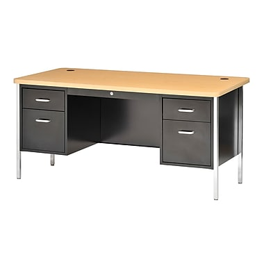 Sandusky® 60in. x 30in. Double Pedestal Steel Teachers Desk, Black/Maple