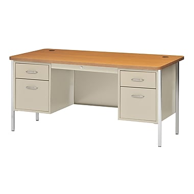 Sandusky® 60in. x 30in. Double Pedestal Steel Teachers Desk, Putty/Medium Oak