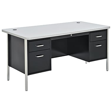 Sandusky® 60in. x 30in. Double Pedestal Steel Teachers Desk, Black/Grey Nebula