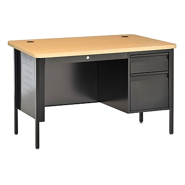 Sandusky® 48in. x 30in. Single Pedestal Contemporary Steel Desk, Black/Maple