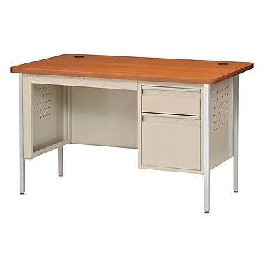 Sandusky® 48in. x 30in. Single Pedestal Contemporary Steel Desk, Putty/Medium Oak
