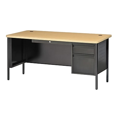 Sandusky® 60in. x 30in. Single Pedestal Contemporary Steel Desk, Black/Maple