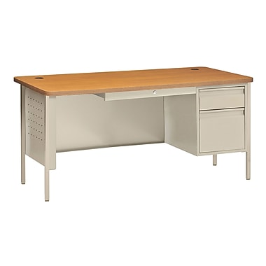 Sandusky® 60in. x 30in. Single Pedestal Contemporary Steel Desk, Putty/Medium Oak