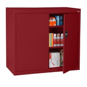 "Sandusky® Elite 46"" x 24"" x 42"" Counter Height Cabinet With Adjustable Shelves, Red"