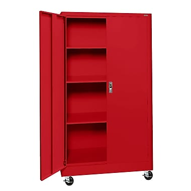 Sandusky® Elite 36in. x 24in. x 66in. Radius Edge Mobile Storage Cabinet, Red