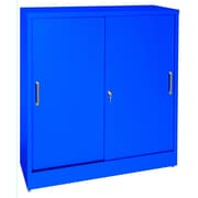 "Sandusky® Elite 36"" x 18"" x 42"" Counter Height Sliding Door Storage Cabinet, Blue"
