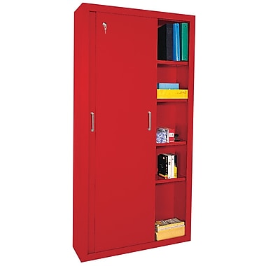 Sandusky® Elite 72in. x 46in. x 18in. Sliding Door Storage Cabinet, Red