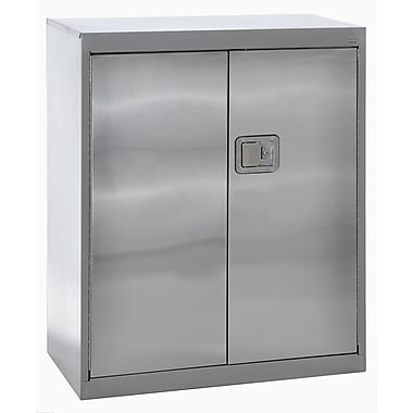 Sandusky® 36in. x 18in. x 42in. Counter Height Storage Cabinet With Paddle Lock, Stainless Steel