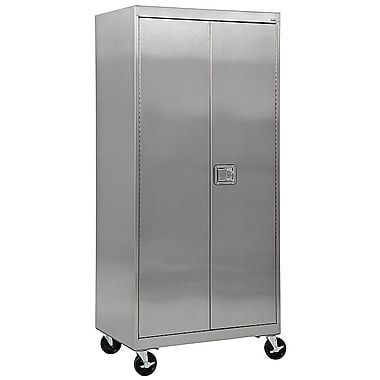 Sandusky® 48in. x 24in. x 84in. Mobile Storage Cabinet With Paddle Lock, Stainless Steel