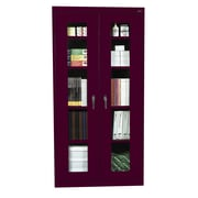 Sandusky® See Thru 36 x 18 x 78 Clearview Storage Cabinet, Burgundy