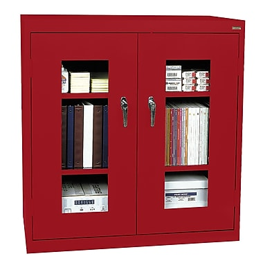 Sandusky® See Thru 46in. x 24in. x 42in. Clearview Counter Height Storage Cabinet, Red