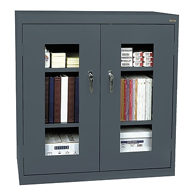 Sandusky® See Thru 46in. x 24in. x 42in. Clearview Counter Height Storage Cabinet, Charcoal