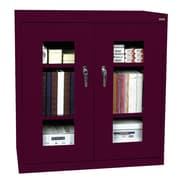 "Sandusky® See Thru 46"" x 18"" x 42"" Clearview Counter Height Storage Cabinet, Burgundy"