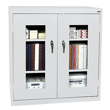 Sandusky® See Thru 46in. x 18in. x 42in. Clearview Counter Height Storage Cabinet, Dove Gray