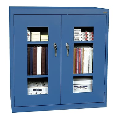 Sandusky® See Thru 46in. x 24in. x 42in. Clearview Counter Height Storage Cabinet, Blue