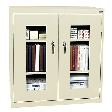 Sandusky® See Thru 46in. x 18in. x 42in. Clearview Counter Height Storage Cabinet, Putty