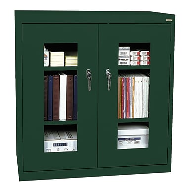 Sandusky® See Thru 46in. x 24in. x 42in. Clearview Counter Height Storage Cabinet, Forest Green