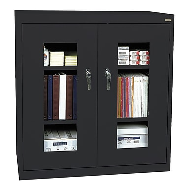 Sandusky® See Thru 46in. x 24in. x 42in. Clearview Counter Height Storage Cabinet, Black