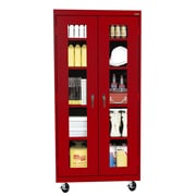 "Sandusky® See Thru 36"" x 18"" x 78"" Transport Mobile Clearview Storage Cabinet, Red"