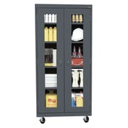 Sandusky® See Thru 36 x 24 x 78 Transport Mobile Clearview Storage Cabinet, Charcoal