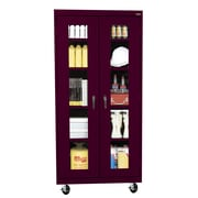 "Sandusky® See Thru 36"" x 18"" x 78"" Transport Mobile Clearview Storage Cabinet, Burgundy"
