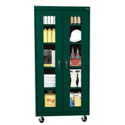 "Sandusky® See Thru 36"" x 18"" x 78"" Transport Mobile Clearview Storage Cabinet, Forest Green"