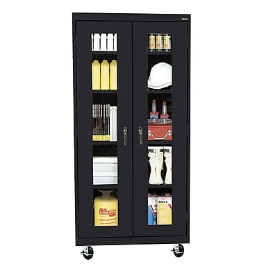 Sandusky® See Thru 36in. x 24in. x 78in. Transport Mobile Clearview Storage Cabinet, Black