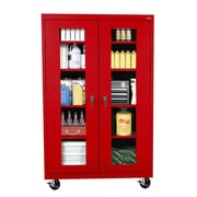"Sandusky® See Thru 46"" x 24"" x 78"" Transport Mobile Clearview Storage Cabinet, Red"