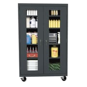 "Sandusky® See Thru 46"" x 18"" x 78"" Transport Mobile Clearview Storage Cabinet, Charcoal"