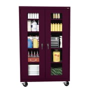 Sandusky® See Thru 46 x 18 x 78 Transport Mobile Clearview Storage Cabinet, Burgundy