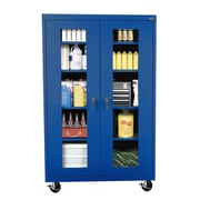 "Sandusky® See Thru 46"" x 24"" x 78"" Transport Mobile Clearview Storage Cabinet, Blue"