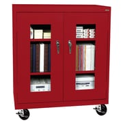 "Sandusky® See Thru 36"" x 24"" x 48"" Transport Mobile Clearview Counter Height Cabinet, Red"