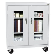 "Sandusky® See Thru 36"" x 18"" x 48"" Transport Mobile Clearview Counter Height Cabinet, Dove Gray"