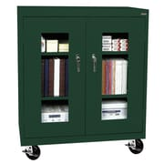 "Sandusky® See Thru 36"" x 18"" x 48"" Transport Mobile Clearview Counter Height Cabinet, Forest Green"
