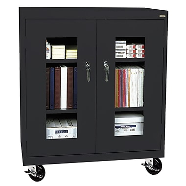 Sandusky® See Thru 46in. x 18in. x 48in. Transport Mobile Clearview Counter Height Cabinet, Black