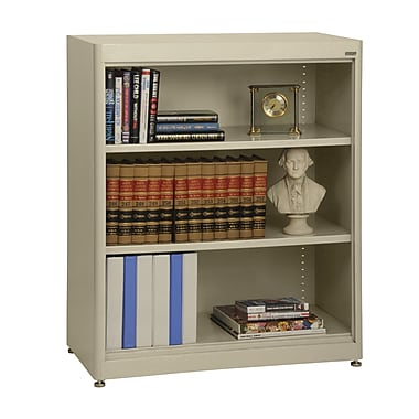 Sandusky® Elite 36in. x 18in. x 42in. Steel Radius Edge Stationary Bookcase, Putty
