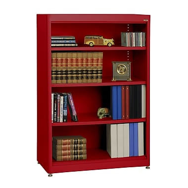 Sandusky® Elite 36in. x 18in. x 52in. Steel Radius Edge Stationary Bookcase, Red