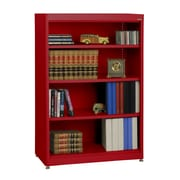 "Sandusky® Elite 36"" x 18"" x 52"" Steel Radius Edge Stationary Bookcase, Red"