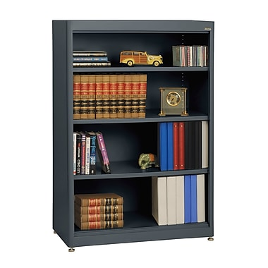 Sandusky® Elite 36in. x 18in. x 52in. Steel Radius Edge Stationary Bookcase, Charcoal