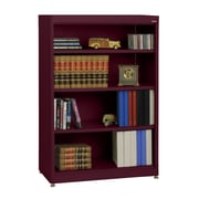 "Sandusky® Elite 36"" x 18"" x 52"" Steel Radius Edge Stationary Bookcase, Burgundy"