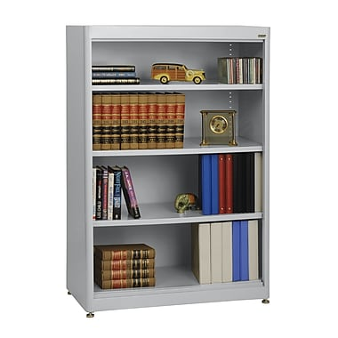 Sandusky® Elite 36in. x 18in. x 52in. Steel Radius Edge Stationary Bookcase, Dove Gray