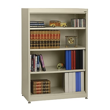 Sandusky® Elite 36in. x 18in. x 52in. Steel Radius Edge Stationary Bookcase, Putty