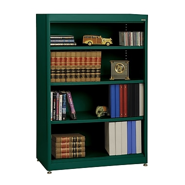 Sandusky® Elite 36in. x 18in. x 52in. Steel Radius Edge Stationary Bookcase, Forest Green