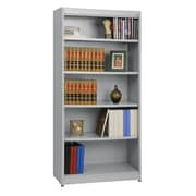 "Sandusky® Elite 36"" x 18"" x 72"" Steel Radius Edge Stationary Bookcase, Dove Gray"