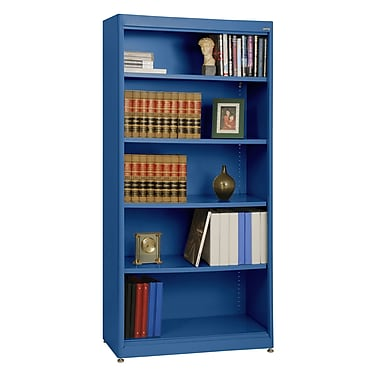 Sandusky® Elite 36in. x 18in. x 72in. Steel Radius Edge Stationary Bookcase, Blue