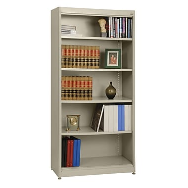 Sandusky® Elite 36in. x 18in. x 72in. Steel Radius Edge Stationary Bookcase, Putty