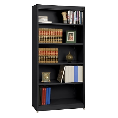 Sandusky® Elite 36in. x 18in. x 72in. Steel Radius Edge Stationary Bookcase, Black